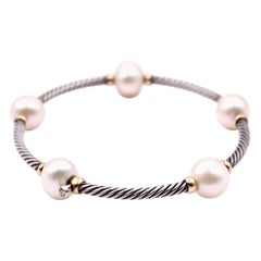 David Yurman Sterling Silver and 18 Karat Yellow Gold Pearl Bangle