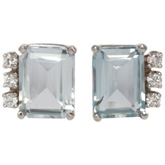1950s Retro 14 Karat White Gold Aquamarine and Diamond Earrings