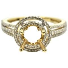 0.37 Carat Diamond 14 Karat Yellow Gold Semi-Mount Engagement Ring