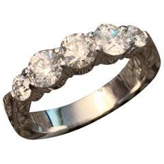 1.25 Approximate Carat TW Round Diamond Band, 14 Karat White Gold, Ben Dannie