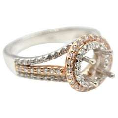 0.67 Carat Diamond 14 Karat White and Rose Gold Semi-Mount Engagement Ring