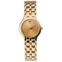 Movado Orizi Quartz Museum Women's 18 Karat Yellow Gold Watch with Gold Dial