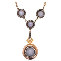 Original Boucheron Star Sapphire and Diamond Gold Necklace circa 1900 with Clock