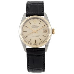Rolex Mid-Size OPDJ 6827 Two-Tone Unisex Watch with Leather Band