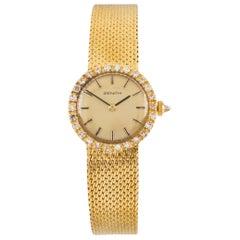 Zenith Diamond Bezel Hand-Winding 18 Karat Yellow Gold Women's Wristwatch