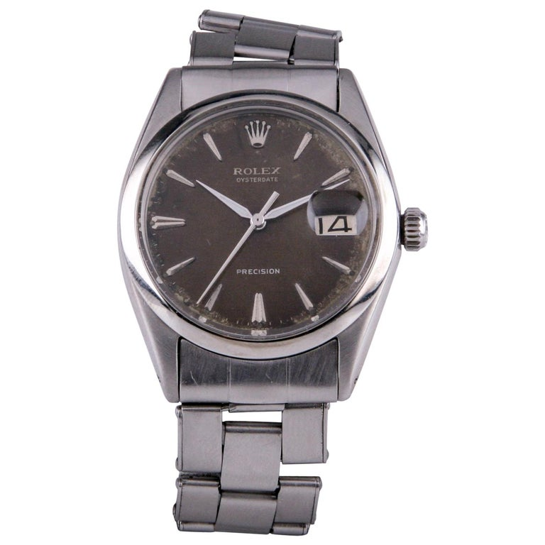 Rolex Oysterdate Precision 6694 Men's Stainless Steel Watch Brown Tropical Dial For Sale