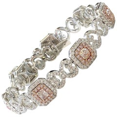 Natural Pink and White Diamond Bracelet in 18 Karat 2-Tone Gold