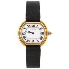 Cartier Ellipse 18 Karat Yellow Gold Women's Wristwatch with Leather Band