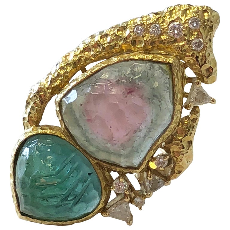 Estate Carved Watermelon Tourmaline, Carved Emerald and Diamond Trillion Ring For Sale