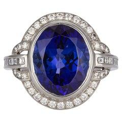 Tiffany & Co. Platinum Diamond and Tanzanite Fashion Cocktail Ring