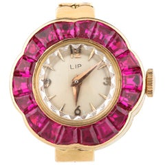 LIP Ruby Bezel Hand-Winding 18 Karat Yellow Gold Women's Watch with Gold Band