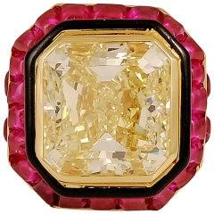 David Webb 15.08 Carat Natural Yellow Diamond Ring