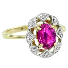 Natural Unheated Burmese Ruby 1.47 Carat with Diamond Cocktail Ring