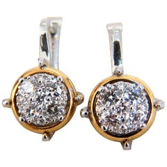 .76 Carat Mod Prime Spanish Goth Lever Natural Diamond Clip Earrings 14 Karat