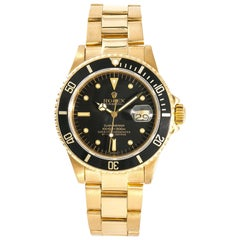 Rolex Submariner 16808 Men's Automatic Watch Black Nipple Dial 18 Karat YG