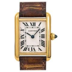 Cartier Tank Louis 2442 W1529856 Women's Quartz Watch Cream Dial 18 Karat YG