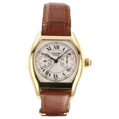 Cartier Tortue 18 Karat Yellow Gold Automatic Brown Leather Watch 2656B