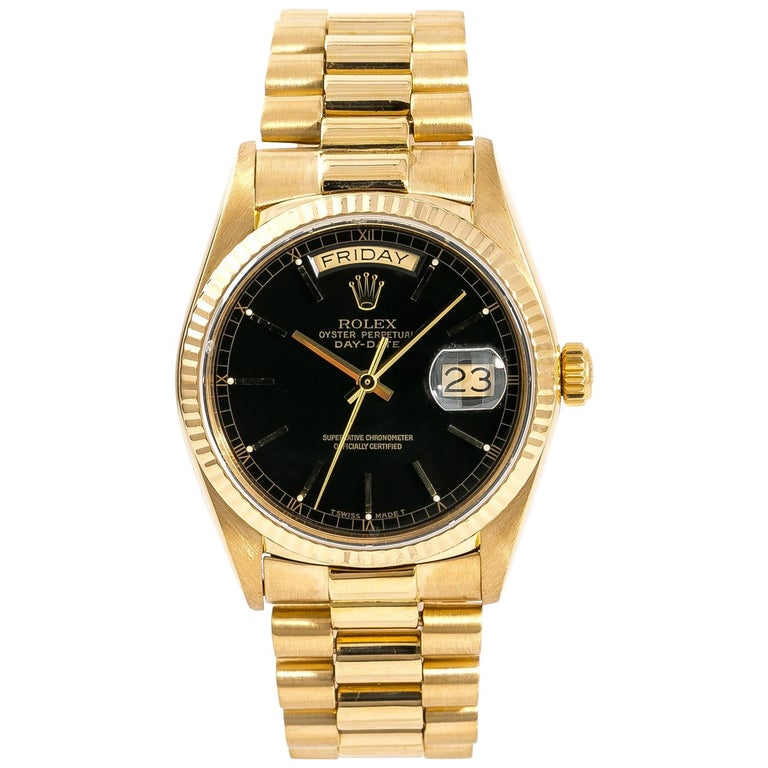 Rolex Day-Date 18038 Single Men's Automatic 18 Karat Gold Black Dial Watch For Sale