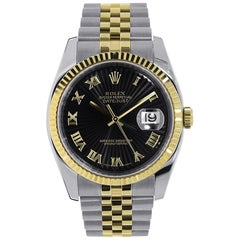 Rolex Datejust Stainless Steel and 18 Karat Yellow Gold Black Roman Dial 116233