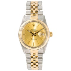 Rolex Datejust 16013 Men's Automatic Watch Champagne Dial 18 Karat Two-Tone