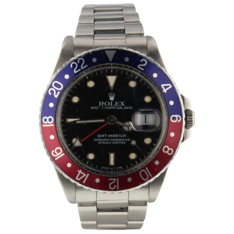 Rolex GMT Master Pepsi Bezel Men's Steel Watch with Box 16750, circa 1988