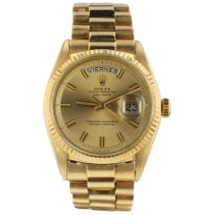 Rolex Day-Date President 18 Karat Yellow Gold Automatic Watch 1803 Box Papers