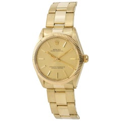 Rolex Oyster Perpetual 1005 Men's Automatic Watch Champagne Dial 18 Karat YG