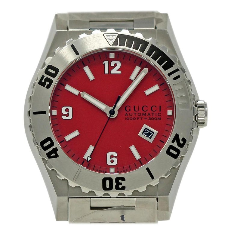 ed4d1985cef Gucci 115 Pantheon YA115218 Stainless Steel Red Dial Box Warranty  501-3 For