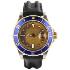 Rolex Submariner Blue Dial Steel 18K Yellow Gold 16803 Circa 1986 Box Brochure