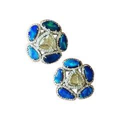 Set in 18 Karat White Gold, Australian Doublet Opal and Rose Cut Diamond Studs