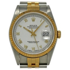 Rolex Datejust 16233 Stainless Steel Yellow Gold White 1993 2 Year Warranty