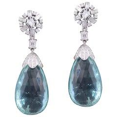 Set in 18 Karat Gold, Green Aquamarine Drop Earrings with Baguette Diamonds