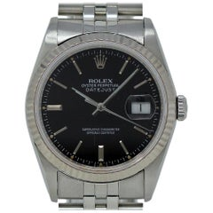 Rolex Datejust 16234 Stainless Steel Black Jubilee 1991 2 Years Warranty #491-1