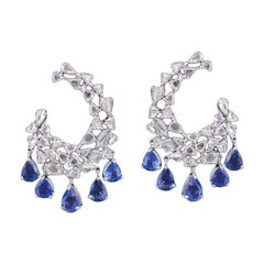 Set in 18 Karat White Gold, Natural Blue Sapphire and Rose Cut Diamond Earrings