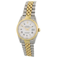 Rolex Datejust 16233 with Band, Yellow-Gold Bezel and White Dial
