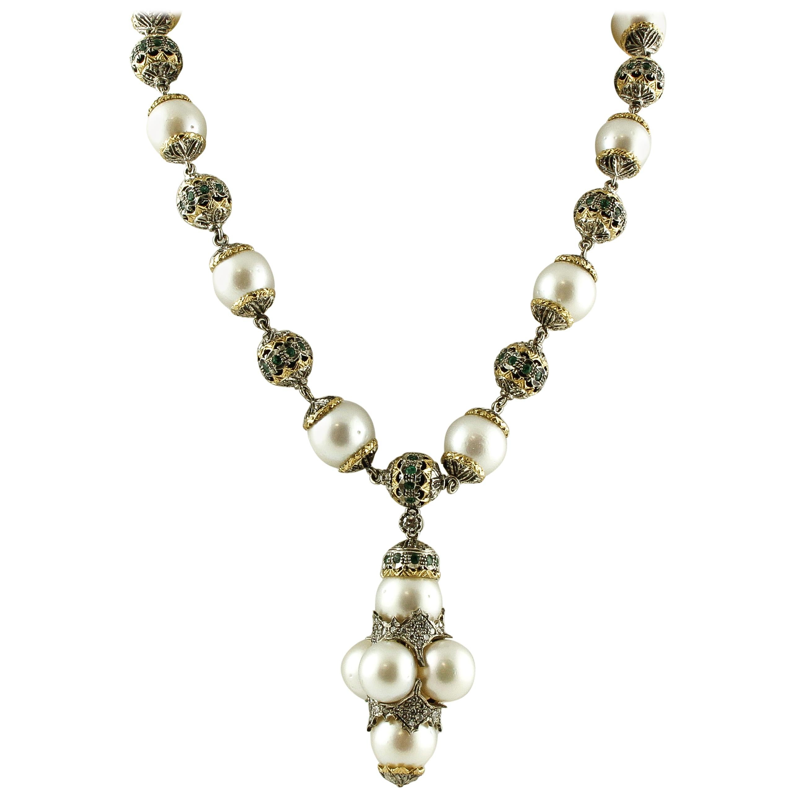 Emeralds Australian Pearls Diamonds Rose Gold and Silver Necklace