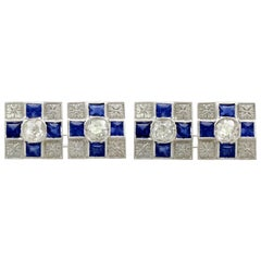 Antique Sapphire and Diamond, 18 Carat White Gold Cufflinks