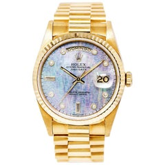 Rolex Day-Date 18238 Mens Automatic Watch 18K Yellow Gold MOP Blue Dial 36mm