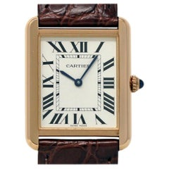 Cartier Tank Solo W5200025 Ladies Rose Gold Leather Box/Paper/2 Year Warranty