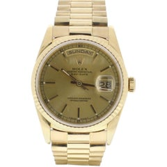 Rolex Day-Date 18238 with Band, Yellow-Gold Bezel and Champagne Dial