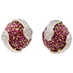 Ruby and Diamond Clip-On Earrings in Yellow and White Gold