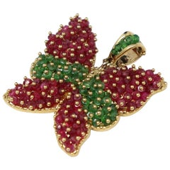 Ruby and Emerald Pendant in Yellow Gold by Savoia Italian Jewelry Brand