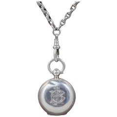 Antique Victorian Sterling Silver Sovereign Locket Necklace Chain Dated 1907