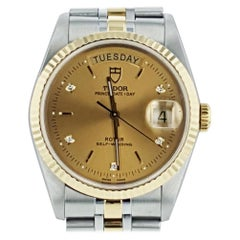 Tudor Prince Date Day Two-Tone Golden Diamond Dial Automatic Watch 76213