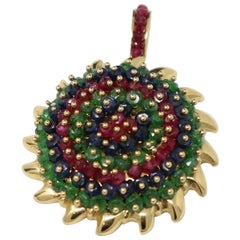 Ruby Emerald and Sapphire Pendant in Yellow Gold
