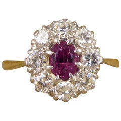 1940s Ruby Diamond Cluster Ring in 18 Carat Gold
