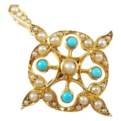 Edwardian 15 Karat Gold Turquoise Cabochon and Seed Pearl Pendant Brooch