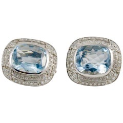 Blue Aquamarine Diamond White Gold Stud Earrings