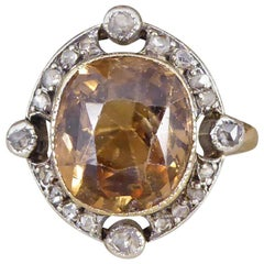 Antique Victorian Brown Zircon and Rose Cut Diamond Gold and Silver Ring