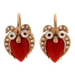 Coral, Diamonds and Ruby, 14 Karat Yellow Gold, Owl Drop Earrings